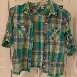 Mossimo Blue Green Flannel